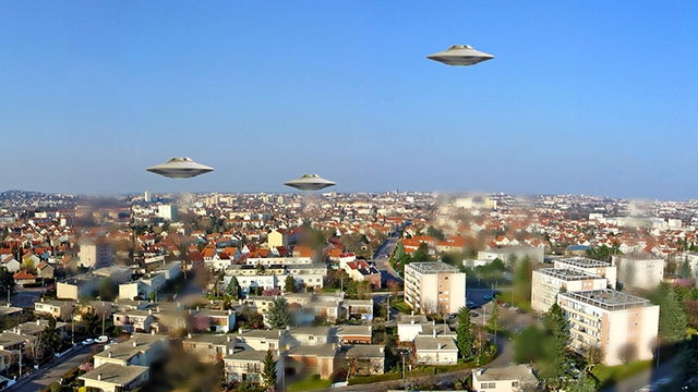 Flying saucers accompanied a plane