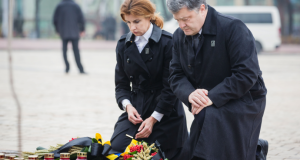 Ukrainian President Petro Poroshenko and his wife honored memory of Holodomor victims