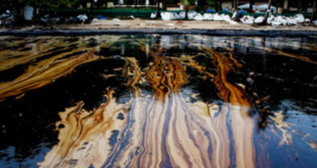 Oil spill on a pipeline of a private refining plant in Russia