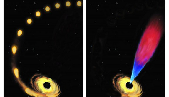 Massive black hole devours a star, returning leftovers