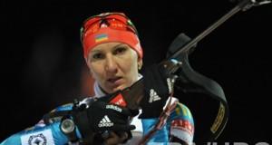 Ukrainian Olena Pidhrushna wins the sprint at the World Cup biathlon