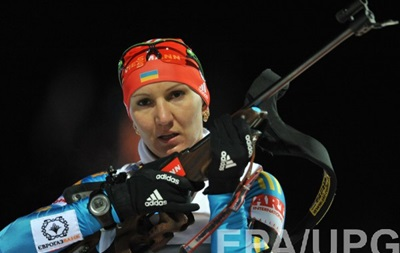 Ukrainian Olena Pidhrushna wins the sprint at the World Cup biathlon