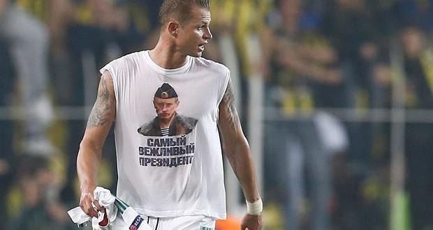 Russian footballer provokes Turkey wearing T-shirt with Putin's portrait
