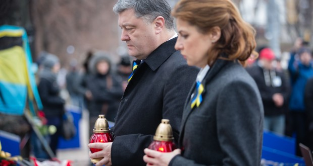 President of Ukraine Petro Poroshenko and his wife Maryna Poroshenko honored memory of the fallen Heroes of the Heavenly Hundred