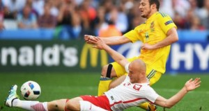 Ukrainian football team returns home from France