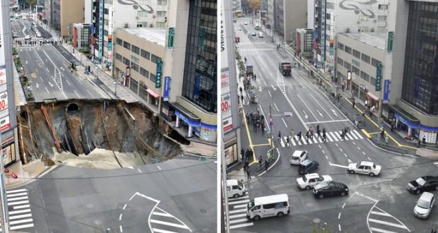 Repaired sinkhole in Japan sinks again