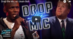 Usain Bolt and James Corden in an epic rap battle - video