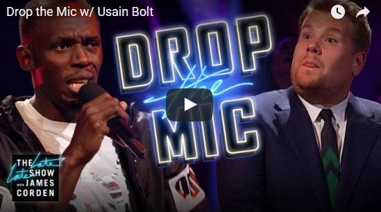 Usain Bolt and James Corden in an epic rap battle - video