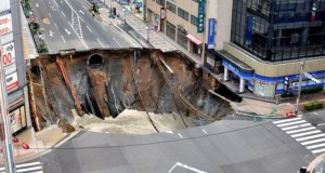 Giant sinkhole swallows road in Japanese city