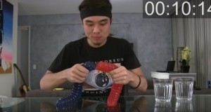 Giant gummy worm eaten in 8 minutes - video