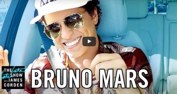 Watch great Bruno Mars performance in James Corden's Carpool Caraoke