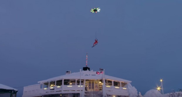 Massive 16-rotor drone lifts snowboarder into the sky