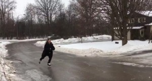 Canadians skating on icy roads