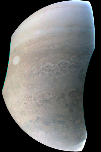 Juno spacecraft captures rotating storm on Jupiter