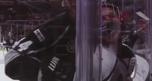 Justin Bieber slammed to the glass by Chris Pronger at NHL Celeb Game