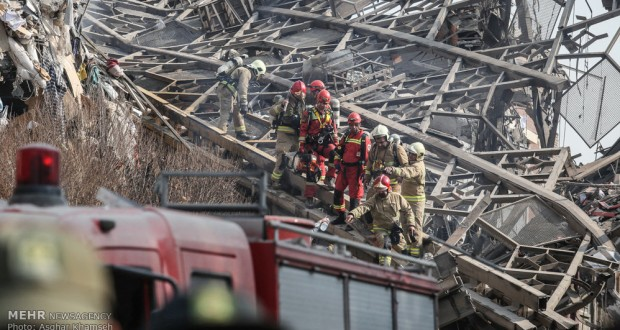 20 firefighters dead as building collapses in Tehran