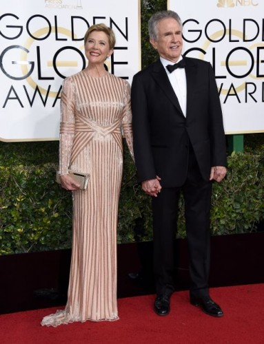 Annette Bening and Warren Beatty at the 74th annual Golden Globe Awards in Beverly Hills, California, January 8, 2017.