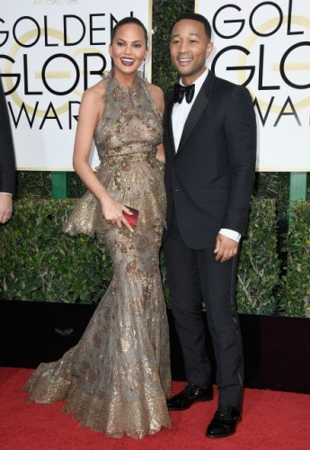 Chrissy Teigen and John Legend at the 74th annual Golden Globe Awards in Beverly Hills, California, January 8, 2017.