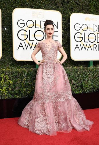Lily Collins at the 74th annual Golden Globe Awards in Beverly Hills, California, January 8, 2017.