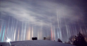 Watch amazing 'light pillars' phenomenon in Canada