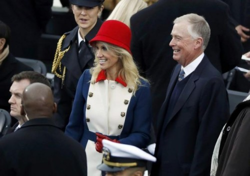 Kellyanne Conway talks with Dan Quayle prior to the inauguration of Donald Trump as the 45th president of the United States in Washington