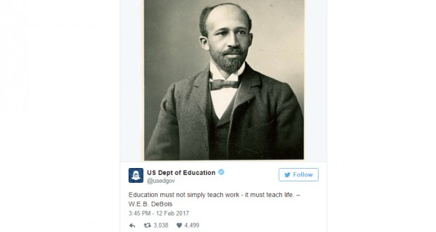 The U.S. Education Department misspells name of NAACP co-founder in tweet — and the apology had a mistake