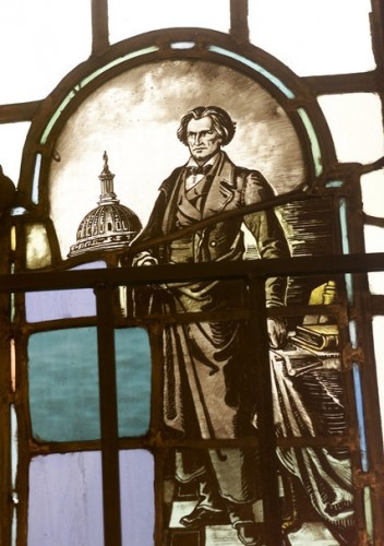 A stained glass window at Yale depicts Calhoun. Credit Suzanne DeChillo/The New York Times