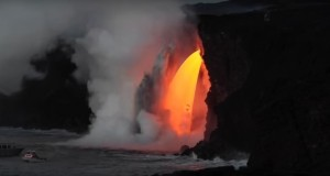 Watch a stunning Hawaii volcano show as lava pours into sea