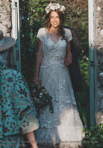 Tess Newall on her wedding day in her great, great grandmother's dress