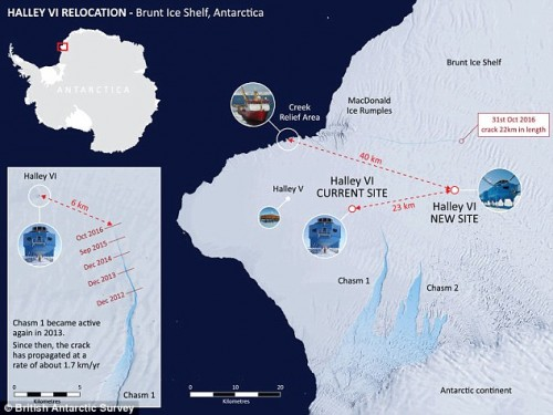 The Halley VI Research Station is set to be relocated 14 miles across the Brunt Ice Shelf, amid fears in could slide into an encroaching fissure in the ice shelf. This map shows the current location of Halley VI, its future location, and The Crack, labelled as Chasm I