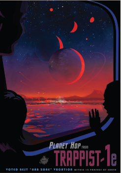This poster imagines what a trip to TRAPPIST-1e might be like. Credits: NASA/JPL-Caltech