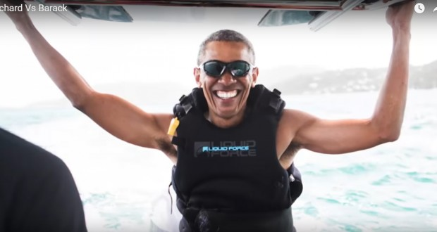 Watch Barack Obama Kitesurfing on Vacation in Virgin Islands