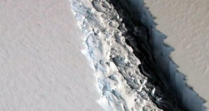 Shocking footage reveals a giant iceberg is close to calving off