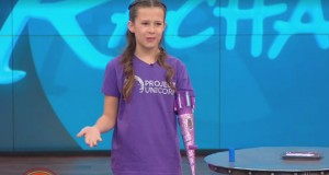 Awesome 11-year-old girl invents a prosthetic arm that blasts glitter