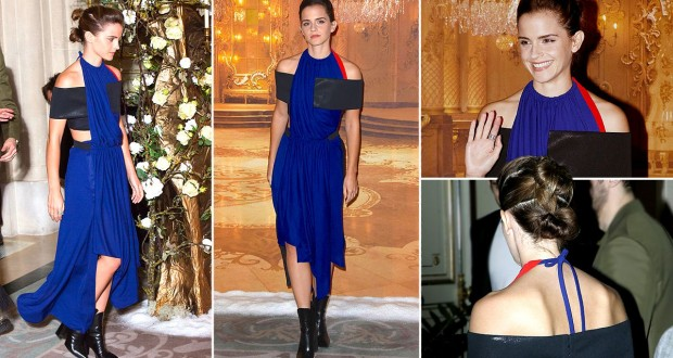 Emma Watson in a blue dress at the first Beauty And The Beast press photocall