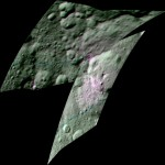 Ceres: Areas that appear pink with respect to the background appear to be rich in organics, and green areas are where organic material appears to be less abundant.