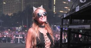 Paris Hilton spotted wearing cute feline ears as she dances and DJs the night away at Ultra Music Festival