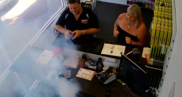 A man's iPhone explodes in his hand as he takes it into a repair shop to fix the cracked screen