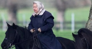 Queen Elizabeth heads out on her pony near Windsor Castle