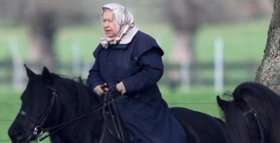 Queen Elizabeth heads out on her pony near Windsor Castle