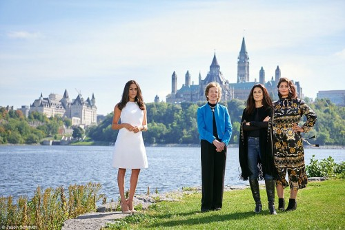 Meghan poses with former President of Ireland Mary Robinson, poet Fatima Bhutto, and women's rights activist Loujain al-Hathloul