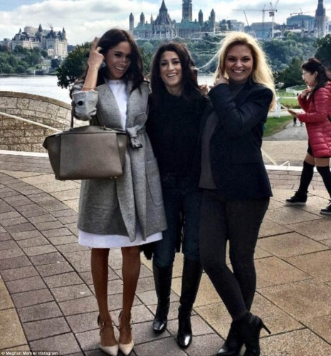 Both Emma and Meghan have been proud to share their work for the summit on Instagram. Pictured: Meghan with Fatima Bhutto following their shoot in Ottawa