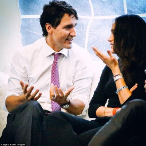 Canadian Prime Minister Justin Trudeau (pictured with Meghan Markle) also appears in the shoot after opening the summit in October