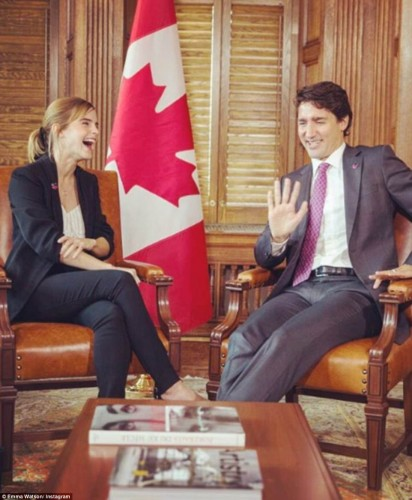 Justin used the One Young World Opening Ceremony to launch his Prime Minister's Youth Council of 15 young Canadians. Pictured: The Prime Minister talking to Emma Watson about gender politics