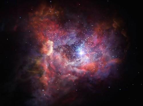 Artist's impression of the remote dusty galaxy A2744_YD4