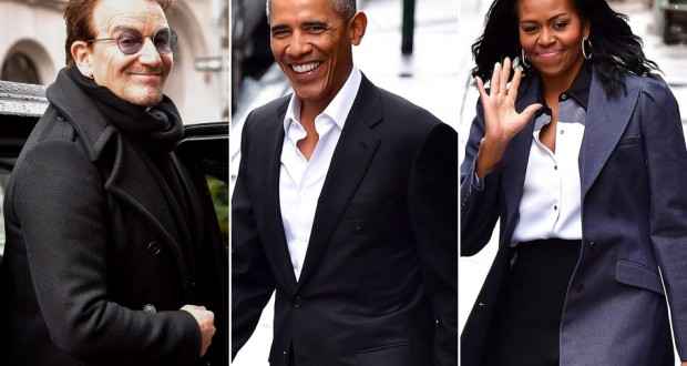 The Obamas had lunch with Bono in New York City