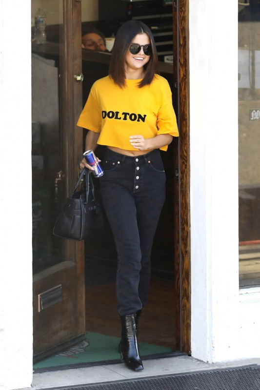 Selena Gomez's Spotted Leaving Tattoo Parlor in Hollywood in Bright Yellow Top