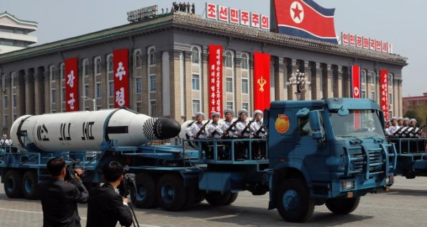 North Korea displays apparently new missiles as U.S. carrier group approaches