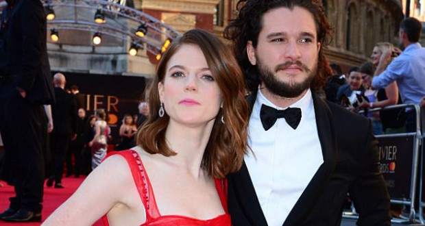 Game of Thrones couple Kit Harington and Rose Leslie put on an amorous display at the 2017 Olivier Awards