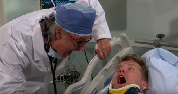 James Corden gets hospitalised by Kurt Russell in hilarious sketch